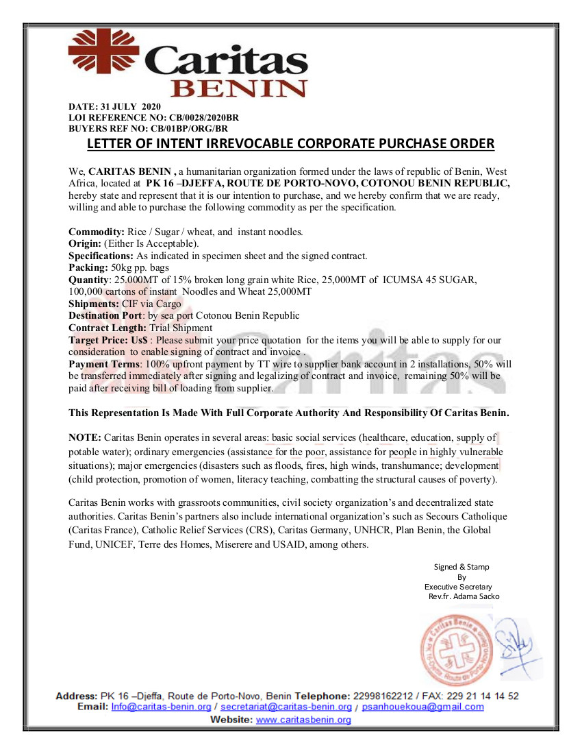 LETTER OF INTENT IRREVOCABLE CORPORATE PURCHASE ORDER